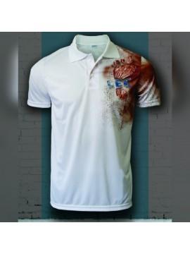 Camisa Polo em tecido DryFit - Pé Vermelho